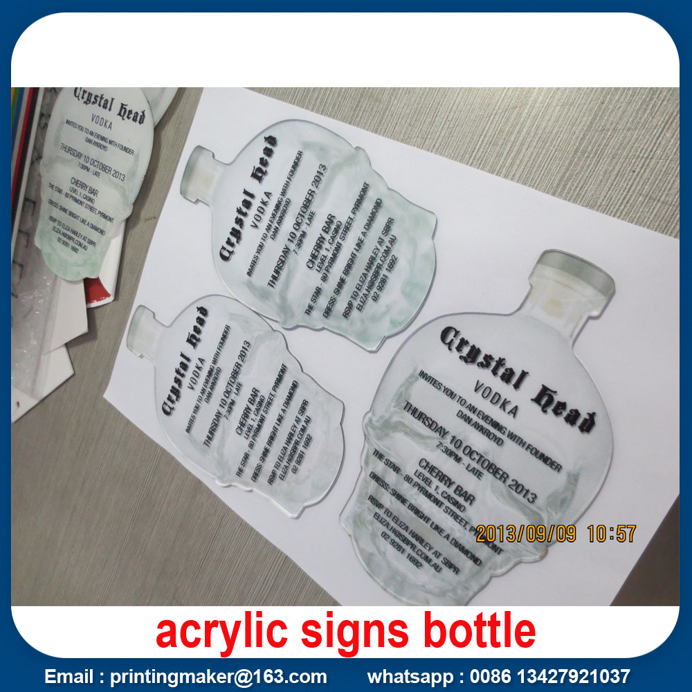 Full Color Printed Acrylic Bottle Sign