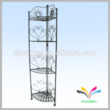 4 tiers black metal wire curved handbag wall corner display shelf