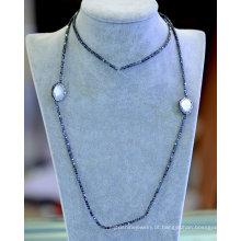 Venda Por Atacado simples hematita fresco pérola colar pulseira jóias