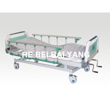 Patient Bed, Movable Double-Function Manual Hospital Bed with ABS Bed Head (A-68)