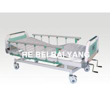 Пациентская кровать, передвижная двухфункциональная ручная больничная койка с головкой из ABS-кровати (A-68)