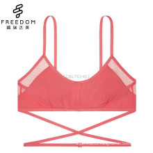 Girls new design cotton and mesh soft and comfortable wireless bandeau strappy underwear bralette bra