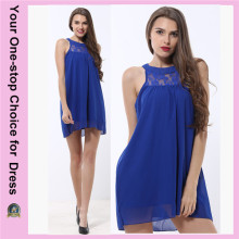 Últimos desenhos Venda Por Atacado Modern Modern Lace Collar Chiffon Moda Lady Dress
