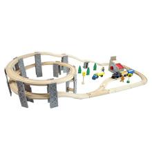 2016 Novo Logging Camp Circle Double-Layer Ferroviária de madeira ferroviária Toy Train Set