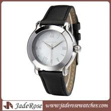 Reloj de cuarzo con contracción de moda y correa de cuero