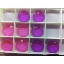 Perles de dos en pierres transparentes roses et violettes à dos plat