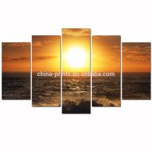 Arte da parede da lona do por do sol do mar / imagem da lona da onda de oceano para a lona quadro da parede / Seascape