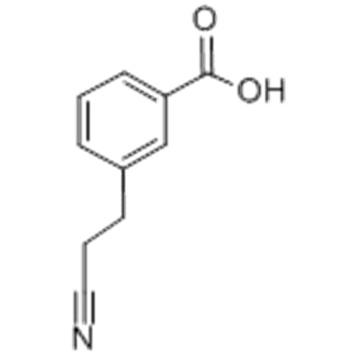Benzoic acid,3-(1-cyanoethyl)- CAS No.:5537-71-3 Molecular Structure: Molecular Structure of 5537-71-3 (Benzoic acid,3-(1-cyanoethyl)-)  Formula: C10H9NO2 Molecular Weight : 175.18 Synonyms: Benzoicacid, m-(1-cyanoethyl)- (7CI,8CI);2-(3-Carboxyphenyl)prop