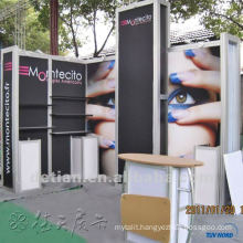 10x10 small slatwall aluminum display exhibition booth, booth space 10x10 with shelves/hooks