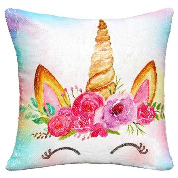 UNICORN THEME REVERSIBLE SEQUIN PILLOW-0
