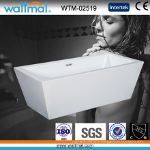Simple Acrylic Rectangle Freestanding Soaking Bathtub with Slim Overflow (WTM-02519)