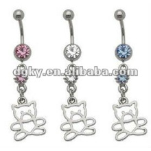 Fashion steel double belly ring piercing jewelry