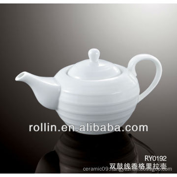 800ml Guangzhou hotel and restaurant supplier white crockery tea pot wholesale