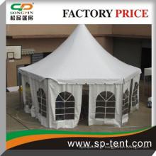 2014 Fancy tente de fête hexagonale blanche à 6 m en solide cadre en aluminium pour fête de jardin