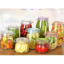 Maschine gemacht Glas Glas mit Metall Clip / Glas Lagerung Jar, Lebensmittel Lagerung Container