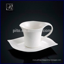 Elegant style leaf shape porcelain coffee cup with saucer for cafeteria restaurant hotel use
