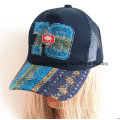 Raw Edge Applique Embroidery Genuine Leather Strap Baseball Cap