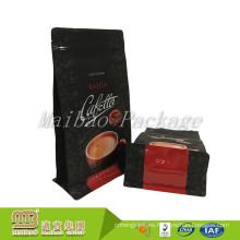 Bolso de café plano impreso de lujo de la bolsa de la caja de la parte inferior de la caja de papel de aluminio negra impresa de gama alta con Ziplock