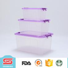 Recipiente de plástico 3pcs multiuso claro ar comprimido com tampa