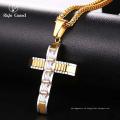 Los hombres al por mayor de la manera de China de la cadena del acero inoxidable Crystal Cross 24K Gold Jewelry Necklace Models