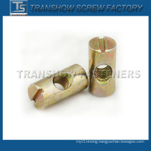 Yellow Zinc Plated Barrel Nut Furniture Nut
