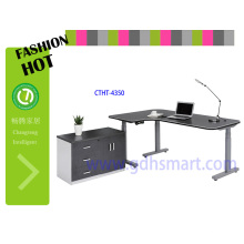 custome-made office furniture standing desk l shape desk 3legs table with wheel furniture for restaurant