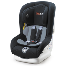 Child car seats with red orange covers