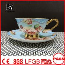 PT fábrica de porcelana Conjunto de café de osso China, decalques copo e pires, personalizado qualquer design
