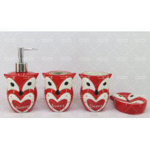 Owl Shaped Ceramic Bathroom Set 4 Pieces