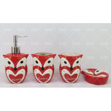 Set de baño de cerámica en forma de búho 4 piezas