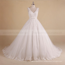 Charming V-Neck Sleeveless Puff A-line Beaded Lace Wedding Dress With Long Train