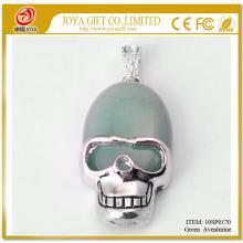 Green Aventurine Semi Precious stone Skull Alloy Pendant