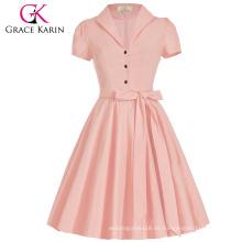 Grace Karin Lapel Collar Nylon-Algodón de color rosa manga corta vintage retro estilo vestido de los años 50 CL008946-2