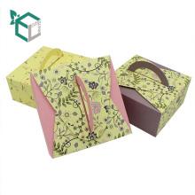 Boîte d'emballage de gâteau de mariage de boîte de papier de poignée de luxe de boîte-cadeau pour la cuisson