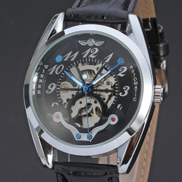 winner automatic mechanical watch with small diamond dial
