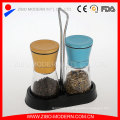 2PC Colored Metal Lid Salt and Pepper Mill Set