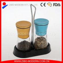 2PC coloridos metal tampa sal e moinho de pimenta conjunto