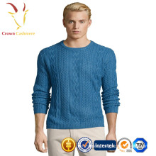 Mens' Cashmere cable knitted Crew Neck pullover sweater