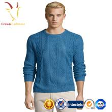 Кашемир кабель мужской вязаный экипажа шеи пуловер свитер