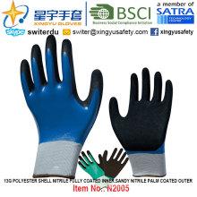 13G poliéster Shell Nitrilo totalmente revestido interior, Sandy Nitrile Palm recubierto exterior guantes (N2005) con CE, En388, En420, guantes de trabajo
