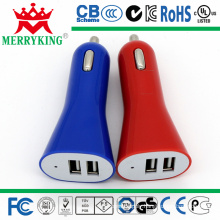 Dual USB Port Car Charger for in-Car Use, with 12-24V Input/5V, 2.4A Output