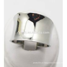 Amplio ancho de acero curvado de metal dedo anillo de diseño para hombres y mujeres