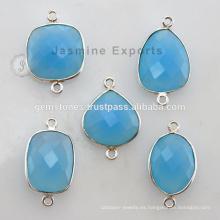 Venta al por mayor 925 Sterling Silver Bezel Configuración Conectores Azul Chalcedony Gemstone Jewelry proveedores
