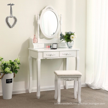Dressing Table Set ith swivelling mirror and stool, 4 drawers with 2 Dividers