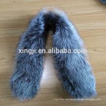 collar de piel de zorro plateado para la chaqueta
