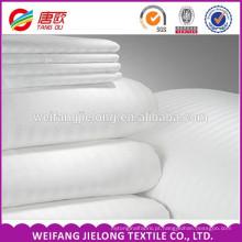 2016 tecido de algodão de cetim de alta qualidade para o hotel / tecido de algodão egípcio 100% tecido de cetim de cetim de algodão branco tarja