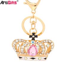 Chaveiro Fabricante China Personalizado Barato Jóias Diamante Ouro Coroa Chaveiro