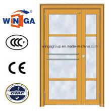 High Quality Galvanized Steel Security Metal Iron Glass Door (W-GD-14)