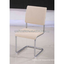 Modern dining chair with PU seat and back and chrome frame