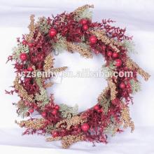 2017 красная ягода искусственные зеленые рождественские венки с фруктами